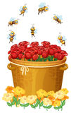 A basket of red roses with bees Royalty Free Stock Image