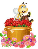 A basket of red roses with a big bee Stock Photography