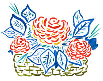 Basket of red roses - hand drawing Stock Image