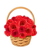 Basket with red roses. Vector illustration. Royalty Free Stock Photography