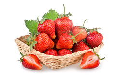 Basket of red strawberry fruits Stock Photography