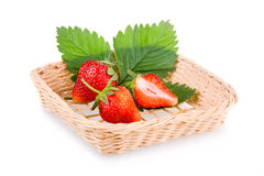 Basket of red strawberry fruits Royalty Free Stock Photos