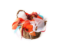 Basket with ribbons Stock Photo
