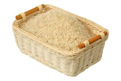 Basket of rice Stock Photo