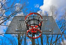 Basket ring and metal grid Royalty Free Stock Images