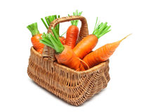 Basket with ripe carrots isolated on white background Stock Photography