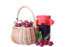 Basket with ripe cherrie Stock Image