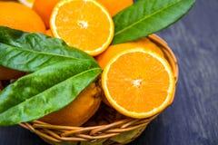 Basket of ripe oranges Stock Image