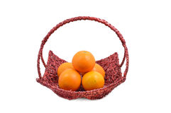 Basket of ripe oranges Healthy. On white background Royalty Free Stock Photography