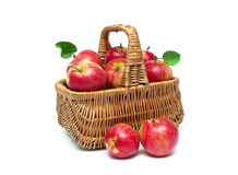Basket with ripe red apples isolated on white background Royalty Free Stock Images