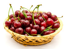 Basket with ripe wet cherry  Stock Photography