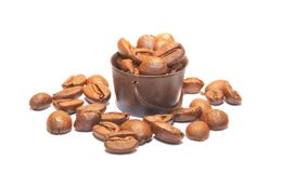 Basket of roasted coffee beans stock image