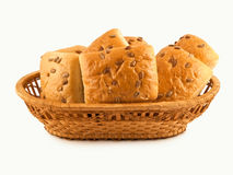 Basket with rolls. Isolated on a white background Royalty Free Stock Images