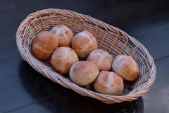 Basket of rolls is on the table stock photography