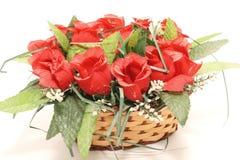 Basket&rose. Love macro natural nature nobody orange paper petal pink plant present red romance romantic rose Stock Photo