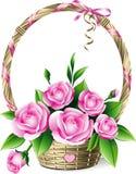 Basket of roses stock illustration