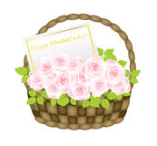 Basket with roses Royalty Free Stock Images