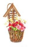 Basket roses. Wood basket roses isolated on white background Stock Photos