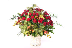 Basket of roses. Big basket full of beautiful red roses Royalty Free Stock Images