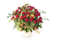 Basket of roses. Big basket full of beautiful red roses Stock Photo