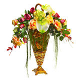 Basket with roses and anthurium. Isolated over white background Royalty Free Stock Photo