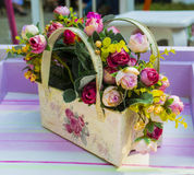 Basket with roses Stock Photo