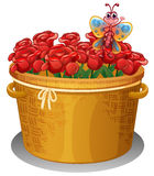 A basket of roses with a butterfly Stock Image