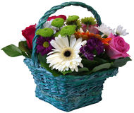 Basket of roses chrysanthemums and gerbera flowers Royalty Free Stock Photography