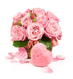 Basket with roses and gift box Stock Image