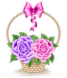 Basket with roses Stock Image