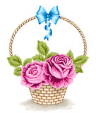 Basket with roses Stock Photos