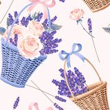 Basket with flowers seamless. Basket with roses and lavender vector seamless background royalty free illustration