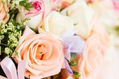 Basket of roses Stock Photos