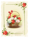 Basket  with roses. Stock Images