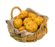 Basket of Savoury Muffins isolated over white Royalty Free Stock Images