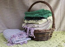 Basket and Scarf Royalty Free Stock Images
