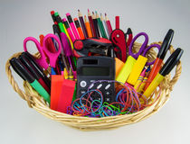 Basket of School and Office Supplies Royalty Free Stock Photography
