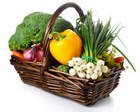 Basket of seasonal fresh vegetables Stock Photography