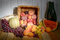 Basket of seasonal fruits Stock Photo