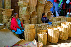 Basket Seller on Mexican Market Stock Photos