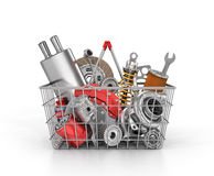 Basket from a shop full of auto parts. Stock Photo