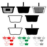 Basket for shopping black red green grey color. Basket for shopping black red green grey Different style Stock Image