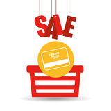 Basket shopping sale credit card graphic Stock Image