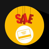 Basket shopping sale credit card graphic Stock Images