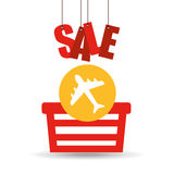Basket shopping sale ticket airplane graphic Royalty Free Stock Images