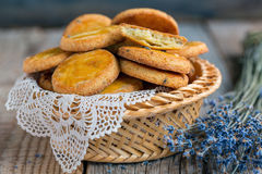 Basket with shortbread. Stock Photography