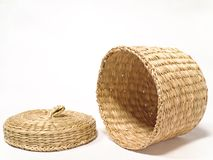 Basket on Side. Woven Basket Royalty Free Stock Photography