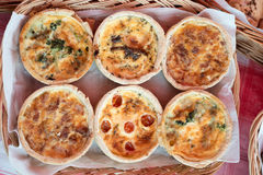 Basket of six quiches Royalty Free Stock Photography