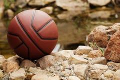 Basket sjön stenar bakgrund inget arkivfoto