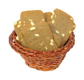 Basket of sliced almond cookies Stock Photo